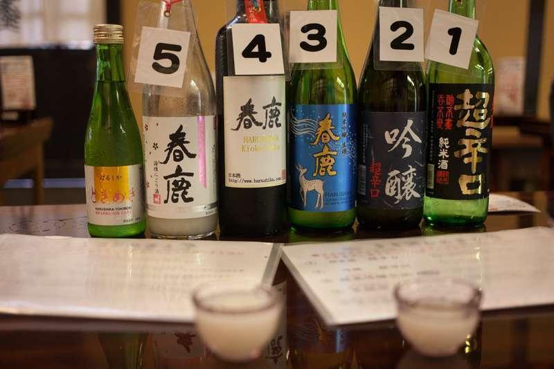 Sake tasting at a local sake brewery in Nara Machi