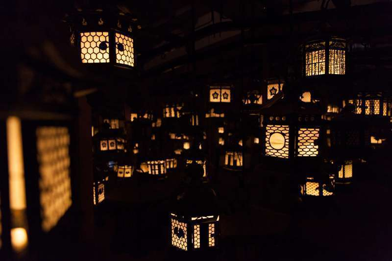 Lantern-lit room in one of the Kasuga Grand Shrine buildings