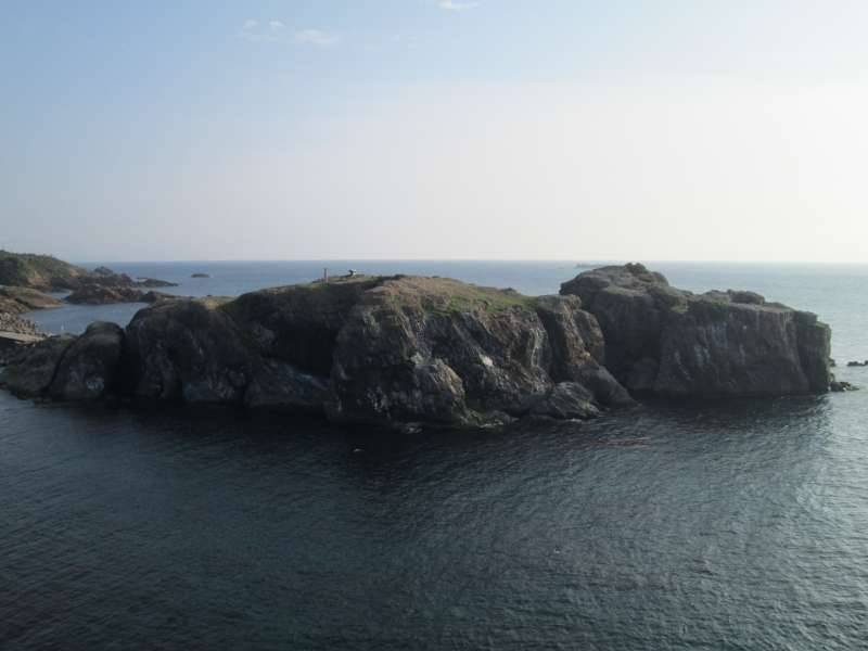 Fumishima island near the lighthouse. It is a sanctuary of black-tailed gulls.