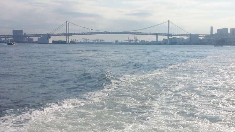 Beautiful view of the Rainbow Bridge from the boat for Asakusa.