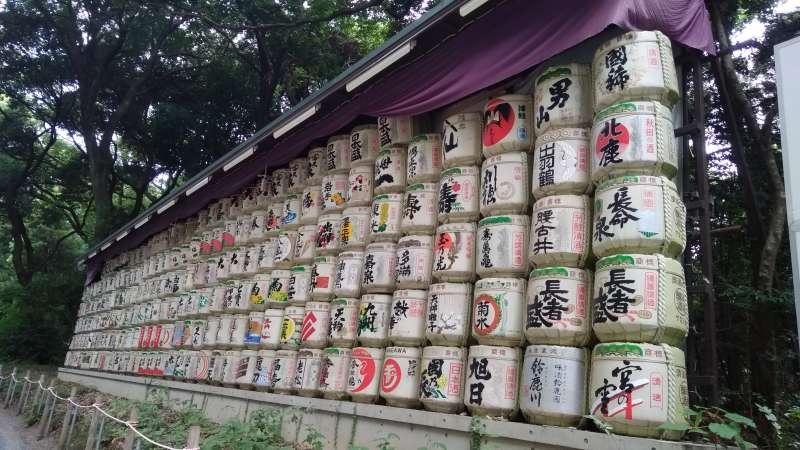 Sake barrel in Meiji Shrine