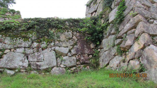 Stone walls at the ruins of Takeda Castle