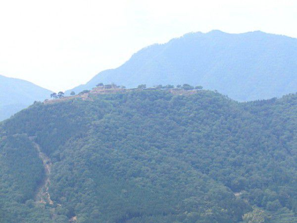 The ruins of Takeda Castle seen from Ritsuun-Kyo