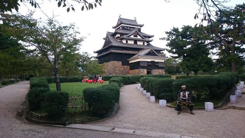 Matsue Castle. Built about 400 years ago. This castle keep is one of the 5 National Treasures of Japan. Enjoy a scenic boat tour of the moats around the castle, and walk the streets lined with old residences of former samurai.